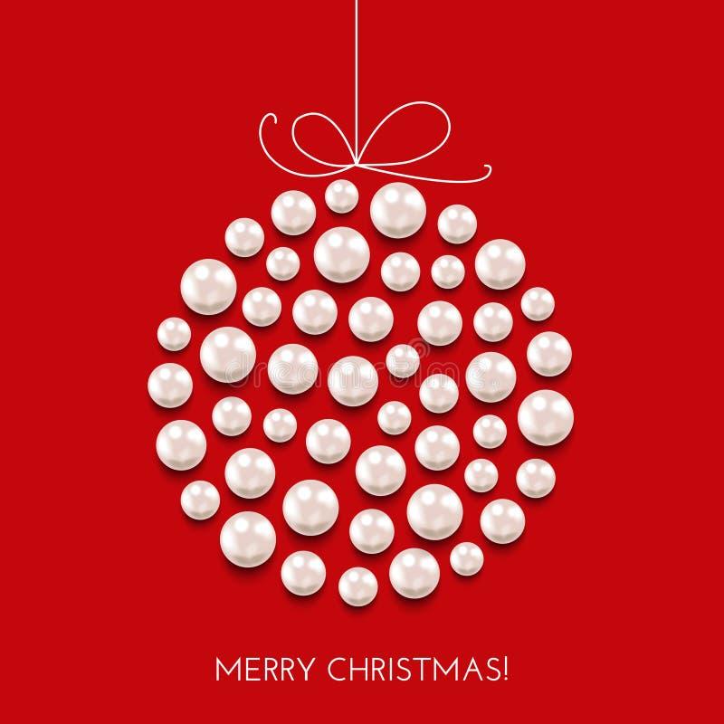 Gruß der Weihnachtskarte mit Dekorball und Feiertagsfahne stock abbildung