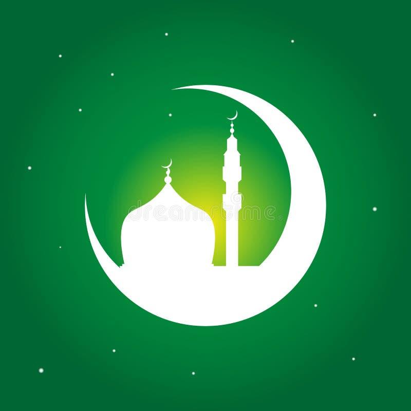 Gruß-Designlinie Moscheenhaube Ramadan Kareems islamische mit Monat vektor abbildung