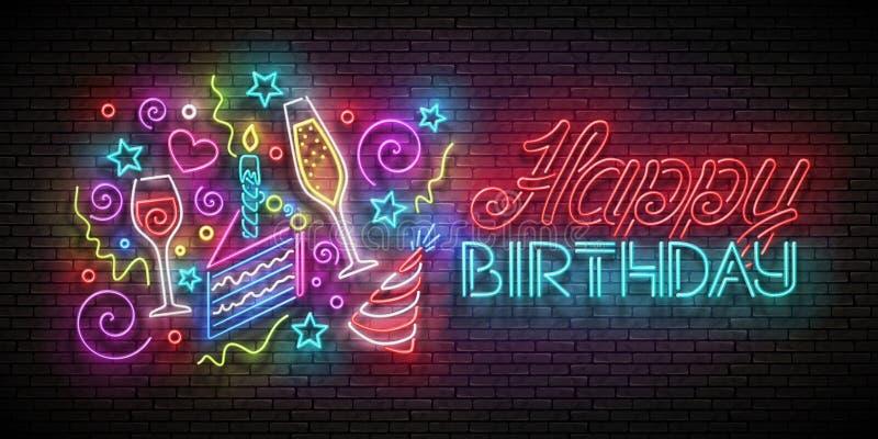 Gruß-Karte mit Stück des Kuchens, der Champagne, der Konfettis und der alles- Gute zum Geburtstagaufschrift stock abbildung