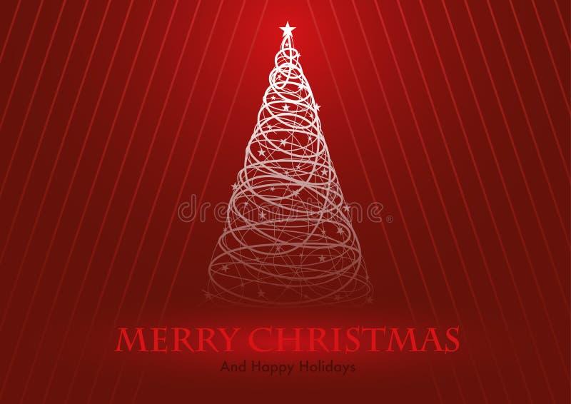 Gruß-Karte mit stilisiertem Weihnachtsbaum stock abbildung