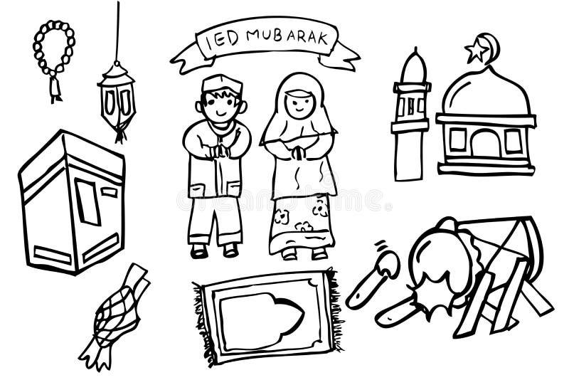 Gruß-Karte - Selamat Hari Raya Idul Fitri (Ramadhan Kareem in Indonesien-Sprache) stock abbildung