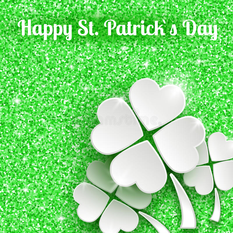 Gruß-Karte Tag St. Patricks mit Weißbuch 3d stock abbildung