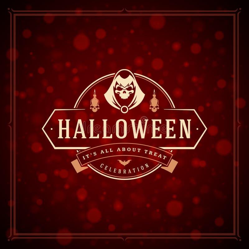 Gruß-Karten-Design-Vektor-Hintergrund Halloweens typografischer stockfoto