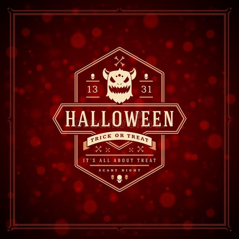 Gruß-Karten-Design-Vektor-Hintergrund Halloweens typografischer stockfotografie