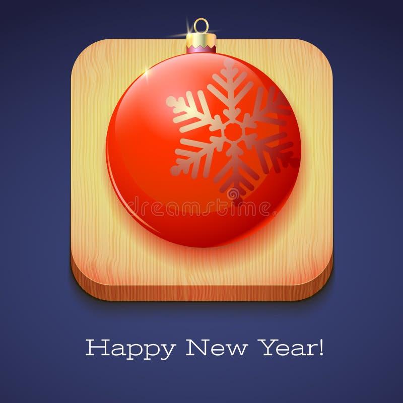 Gruß-Karten-guten Rutsch ins Neue Jahr Roter Weihnachtsball mit einer großen Schneeflocke auf hölzernem Hintergrund Volumetrische stock abbildung