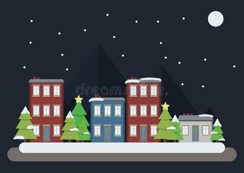 Gruß-Kartendesign der frohen Weihnachten mit Gebäuden, Weihnachtsbaum, Schnee, Berg und Mond vektor abbildung