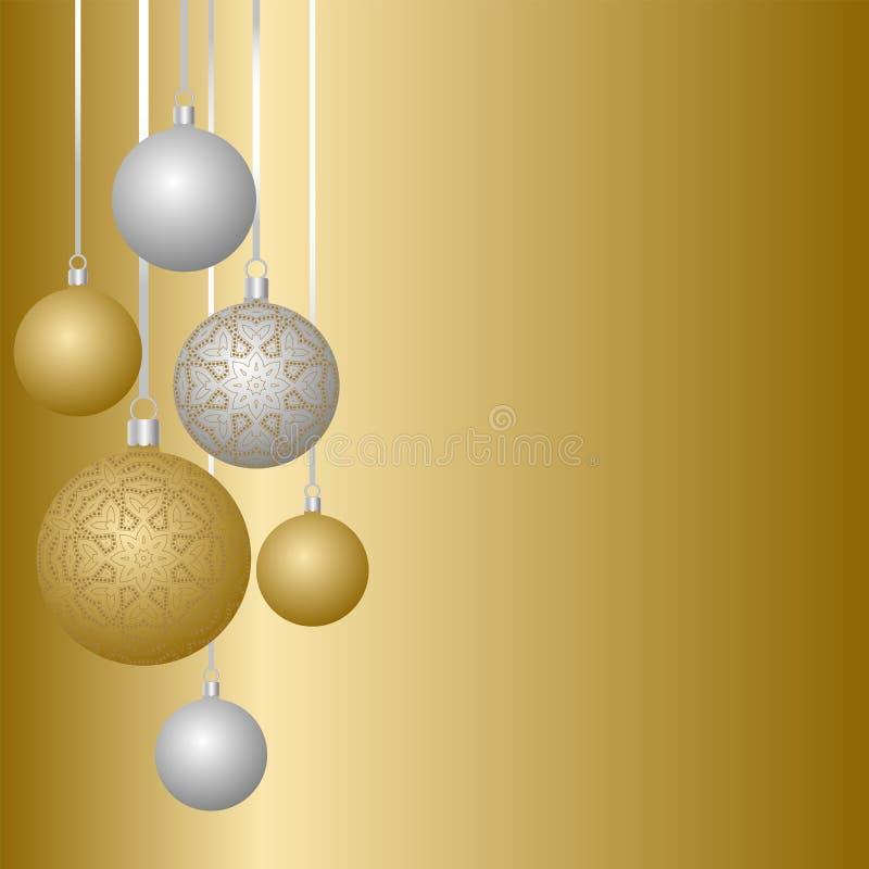 Gruß-Kartendesign des neuen Jahres mit den Weihnachtsbällen, die am Band hängen Sammlung Flitter mit Verzierungen vektor abbildung
