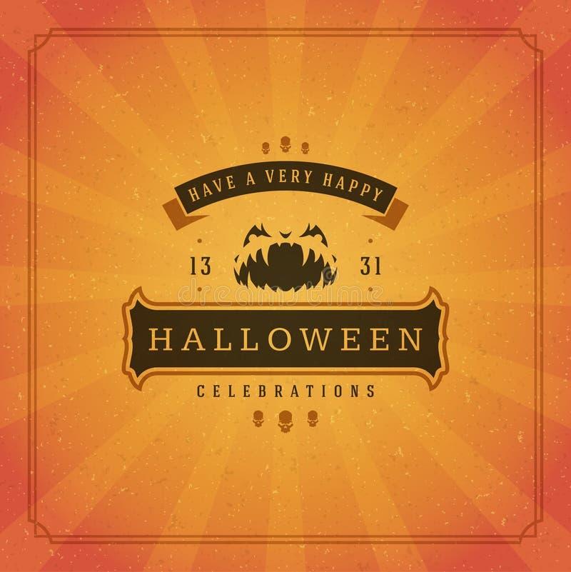 Gruß-Kartendesignvektor Halloweens typografischer lizenzfreie stockfotografie