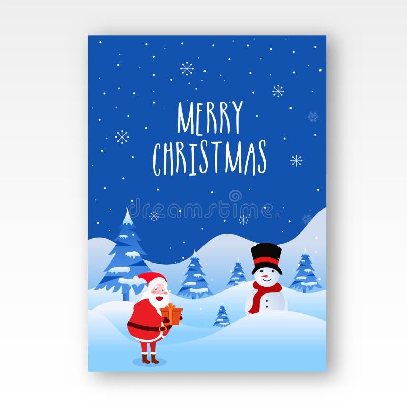 Gruß-Kartenentwurf der frohen Weihnachten mit Illustration von glücklichem stock abbildung