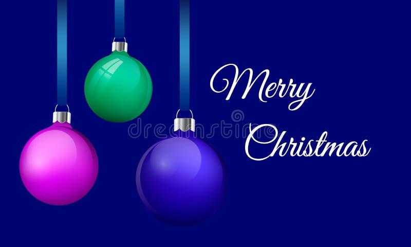 Gruß-Kartenentwurf der frohen Weihnachten mit realistischem rosa Blau und grünen Glasweihnachtsbällen Flitter 3d, der an hängt lizenzfreie abbildung