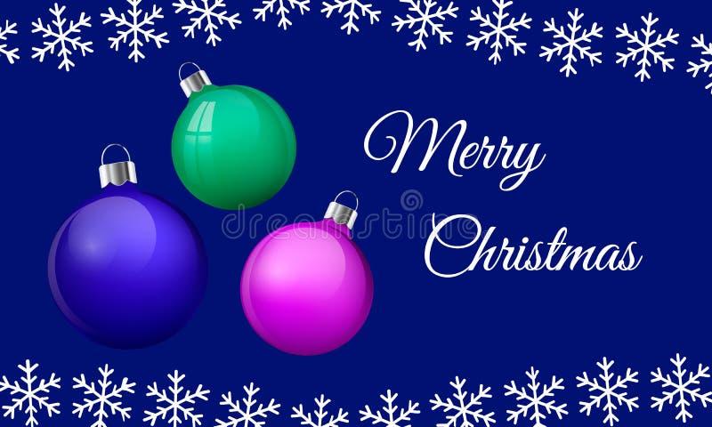 Gruß-Kartenentwurf der frohen Weihnachten mit realistischem rosa Blau und grünen Glasweihnachtsbällen, Flitter 3d Vektor lizenzfreie abbildung