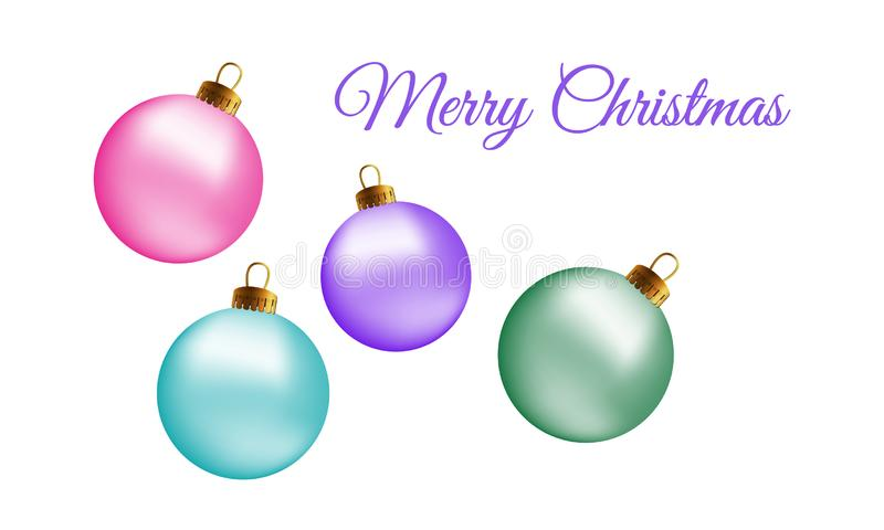 Gruß-Kartenentwurf der frohen Weihnachten mit realistischem rosa blauem Aspekt und grünen Glasweihnachtsbällen, Flitter 3d Vektor vektor abbildung