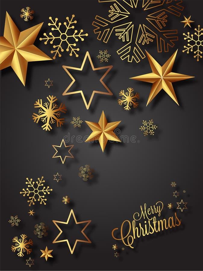 Gruß-Kartenentwurf der frohen Weihnachten verziert mit goldenen Sternen stock abbildung