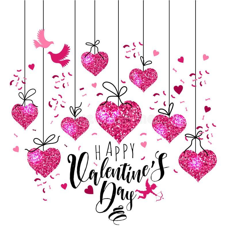 Gruß-Kartensatz des Valentinsgrußes s Tagesmit Herzen Funkeln, schwarz, Rosa, weiße Farben Design für Valentinsgruß und Hochzeit stock abbildung