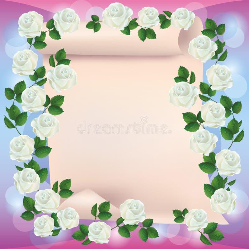 Gruß- oder Einladungskarte mit Papier und Rosen stock abbildung