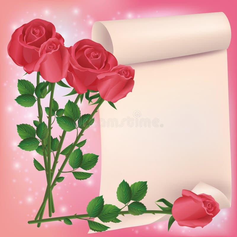 Gruß- oder Einladungskarte mit roten Rosen lizenzfreie abbildung
