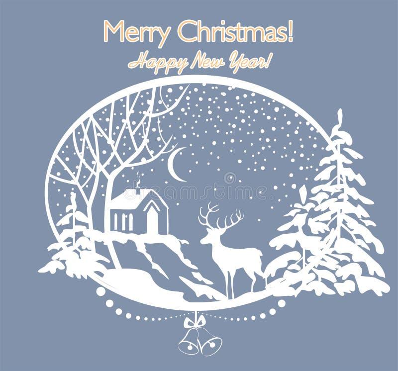 Gruß-Weihnachtsretro- Karte mit herausgeschnittener Papierwinterlandschaft mit Tannen, Baum, Rotwild, Schnee und Haus lizenzfreie abbildung