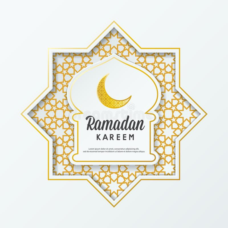 Grußdesign-Moscheenhaube Ramadan Kareems islamische mit arabischem Muster und Kalligraphie vektor abbildung