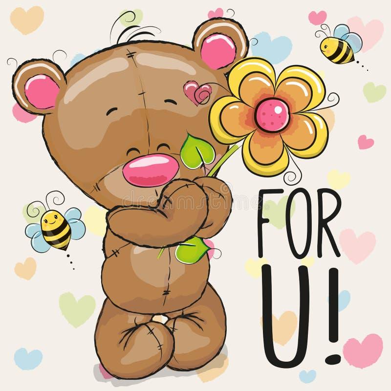 Grußkarte Bär mit Blume lizenzfreie abbildung