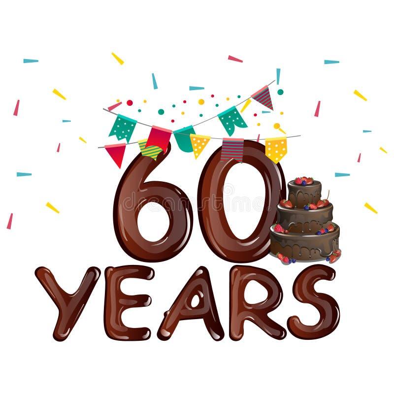 Grußkarte der alles- Gute zum Geburtstagzahl 60 stock abbildung