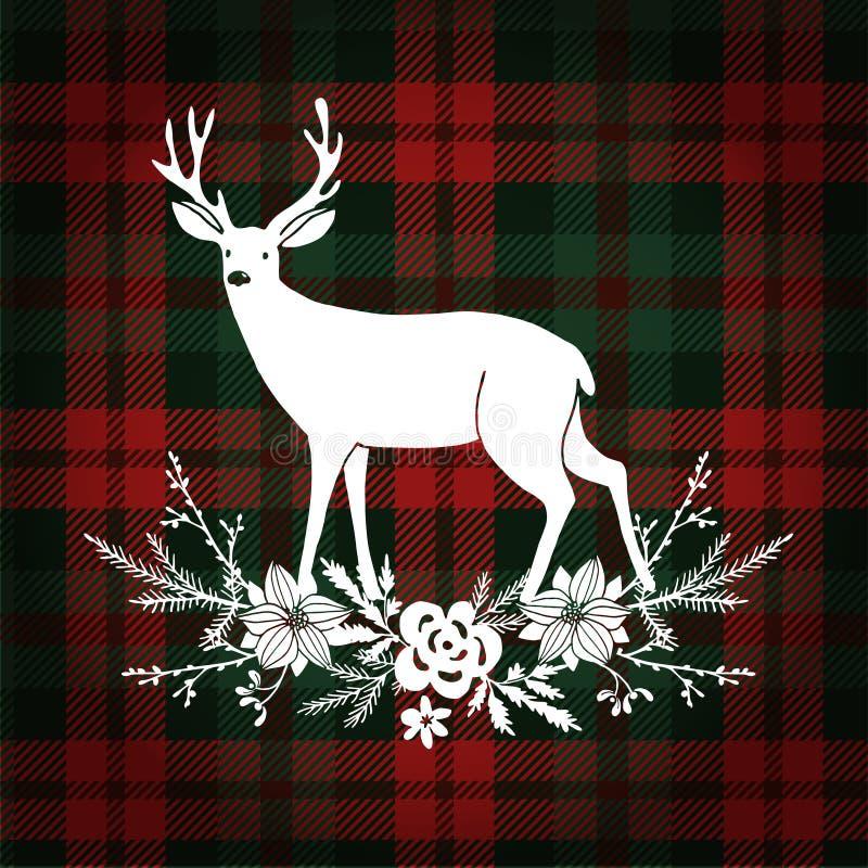 Grußkarte der frohen Weihnachten, Einladung Ren mit Weihnachtsblumenstrauß, Blumendekoration lizenzfreie abbildung