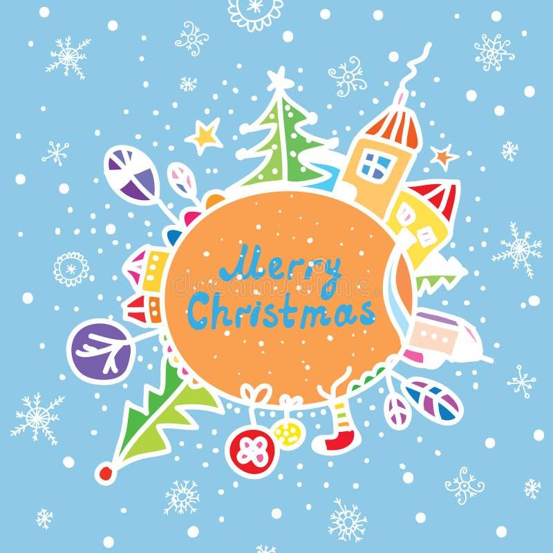 Grußkarte der frohen Weihnachten lustig vektor abbildung