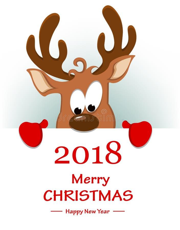 Grußkarte der frohen Weihnachten mit dem lustigen Ren, das sich hinten versteckt lizenzfreie abbildung