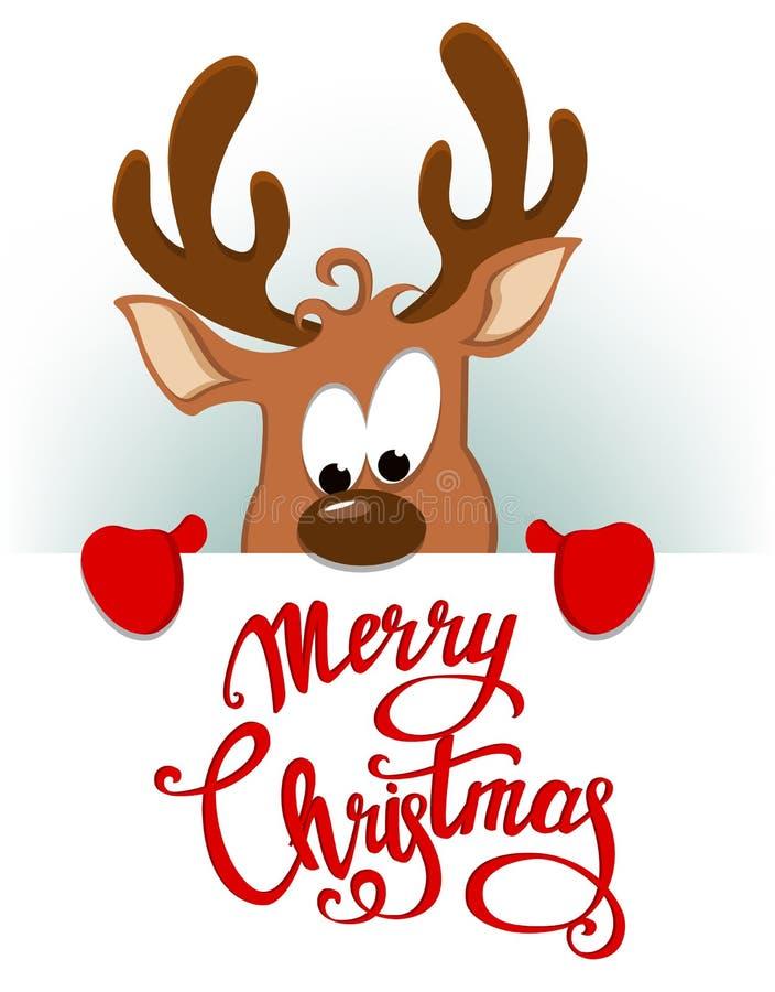 Grußkarte der frohen Weihnachten mit dem lustigen Ren, das sich hinten versteckt stock abbildung