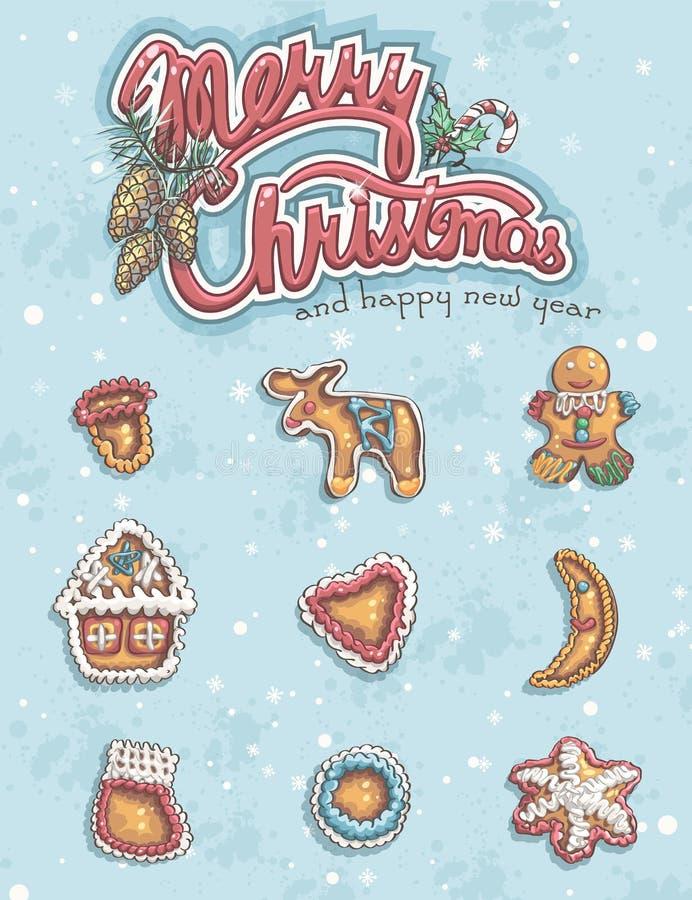 Grußkarte der frohen Weihnachten mit Einzelteilen stock abbildung