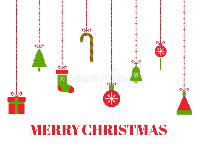Grußkarte der frohen Weihnachten mit hängendem Weihnachten spielt, Baum, Geschenkboxen, Schneeflocken, Weihnachtsbälle, Sankt-Hut vektor abbildung