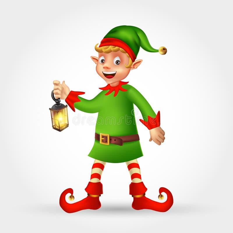 Grußkarte der frohen Weihnachten mit Karikaturelfen-Holdinglaterne lizenzfreies stockfoto