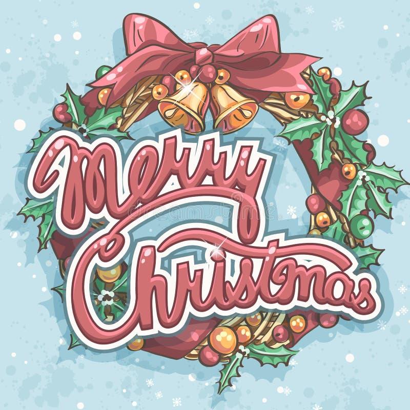Grußkarte der frohen Weihnachten mit Kranz lizenzfreie abbildung