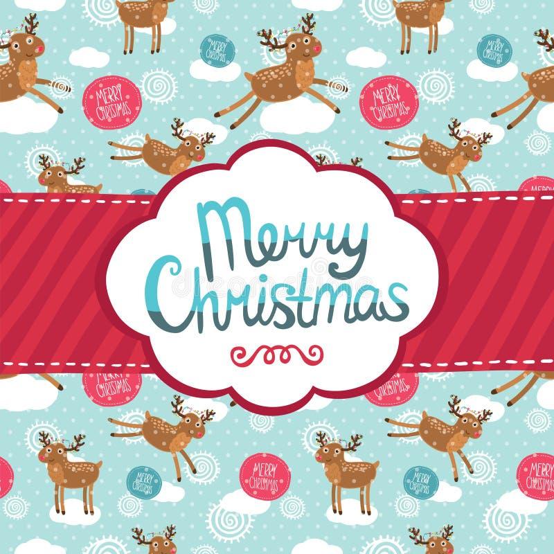 Grußkarte der frohen Weihnachten mit Rotwildmuster. lizenzfreie abbildung