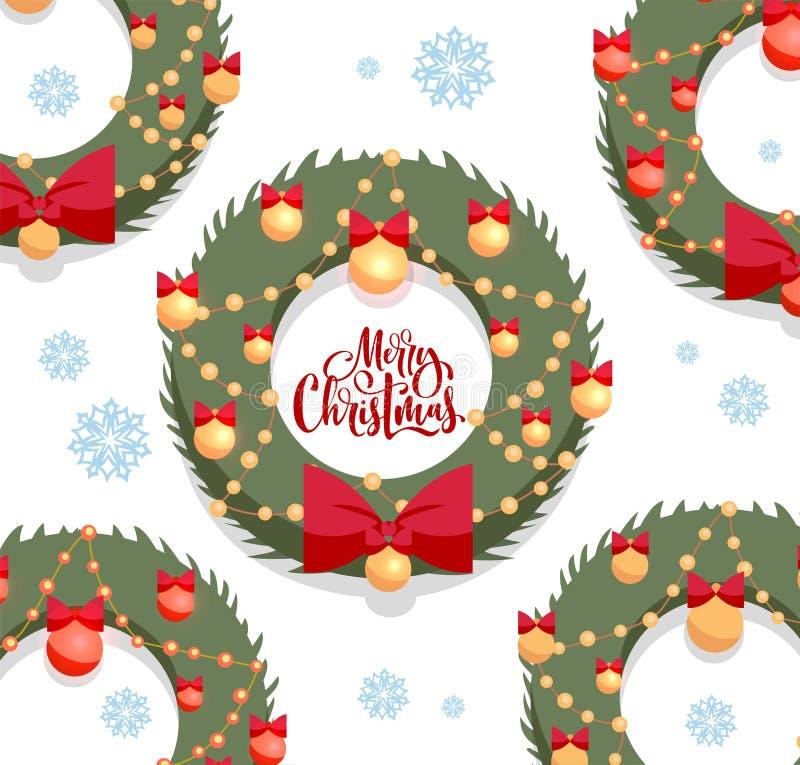 Grußkarte der frohen Weihnachten mit strukturierter Beschriftung Weihnachtsgrünkränze verziert durch roten Bogen und goldene Bäll lizenzfreie abbildung