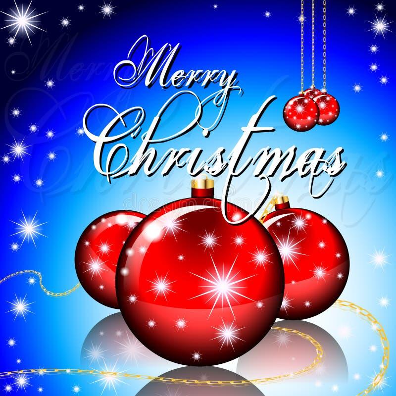 Grußkarte der frohen Weihnachten mit Weihnachtsbällen und stockbilder
