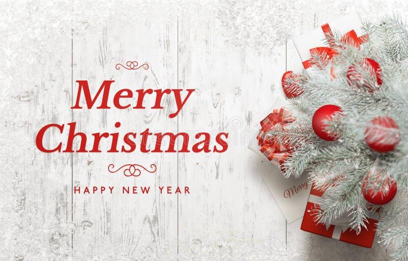 Grußkarte der frohen Weihnachten und des glücklichen neuen Jahres lizenzfreies stockfoto