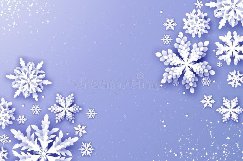 Grußkarte der frohen Weihnachten und des glücklichen neuen Jahres Weißbuchschnittschneeflocken Origami-Winter-Dekorationshintergr stock abbildung