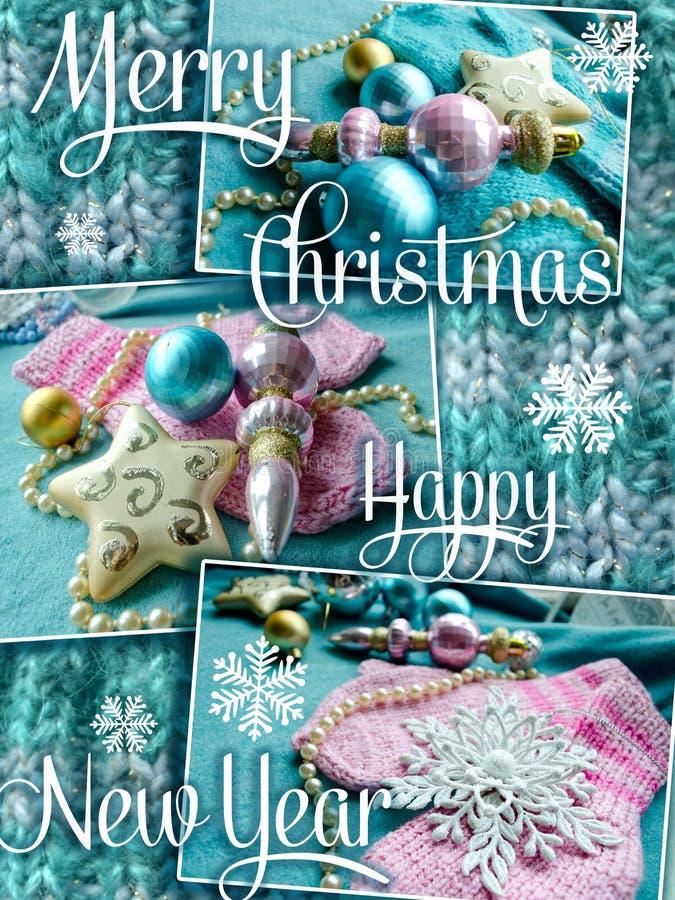 Grußkarte der frohen Weihnachten und des glücklichen neuen Jahres Weihnachtsfeiertagsdesign stockfoto