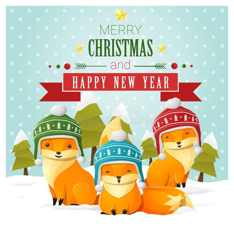 Grußkarte der frohen Weihnachten und des guten Rutsch ins Neue Jahr mit Fuchsfamilie vektor abbildung