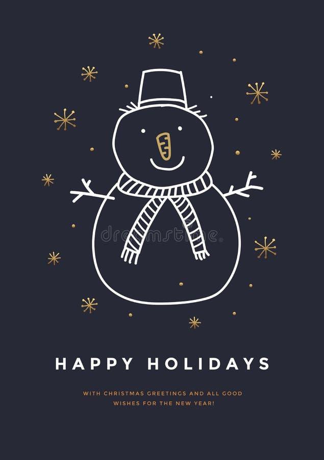 Grußkarte der frohen Weihnachten und des guten Rutsch ins Neue Jahr mit Hand gezeichnetem Schneemann und goldenen Schneeflocken stock abbildung