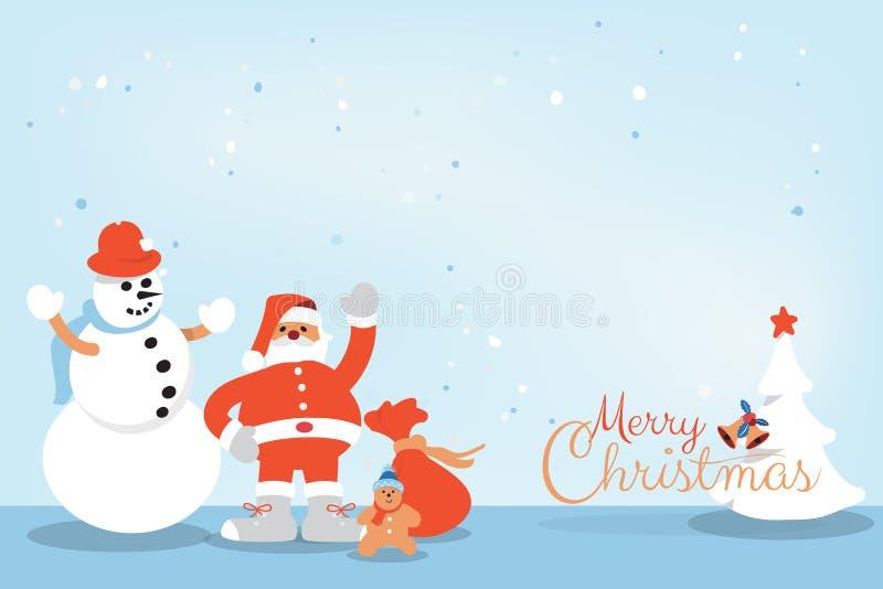 Grußkarte der frohen Weihnachten und des guten Rutsch ins Neue Jahr mit Santa Claus, Schneemanngrußkarte lizenzfreie abbildung
