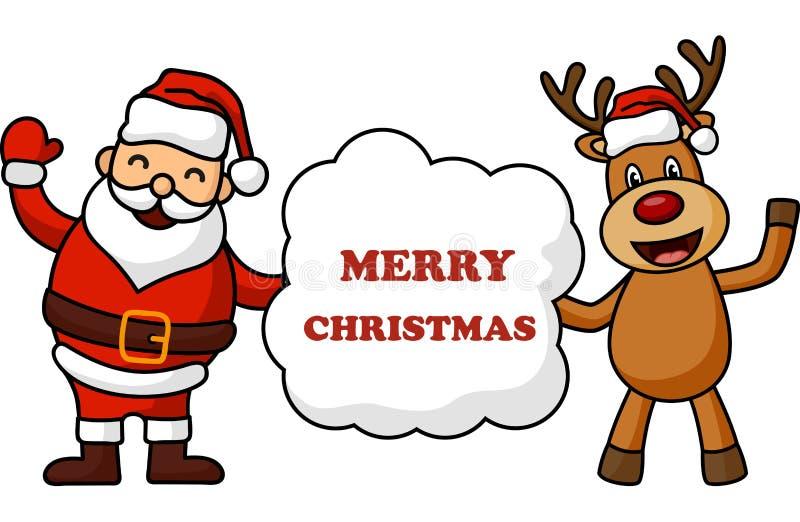 Grußkarte der frohen Weihnachten Weihnachtsmann mit Rotwild lizenzfreie abbildung