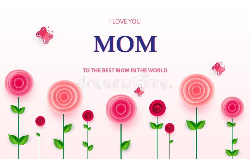 Grußkarte der Mutter s Tagesmit schönen Blütenblumen stock abbildung