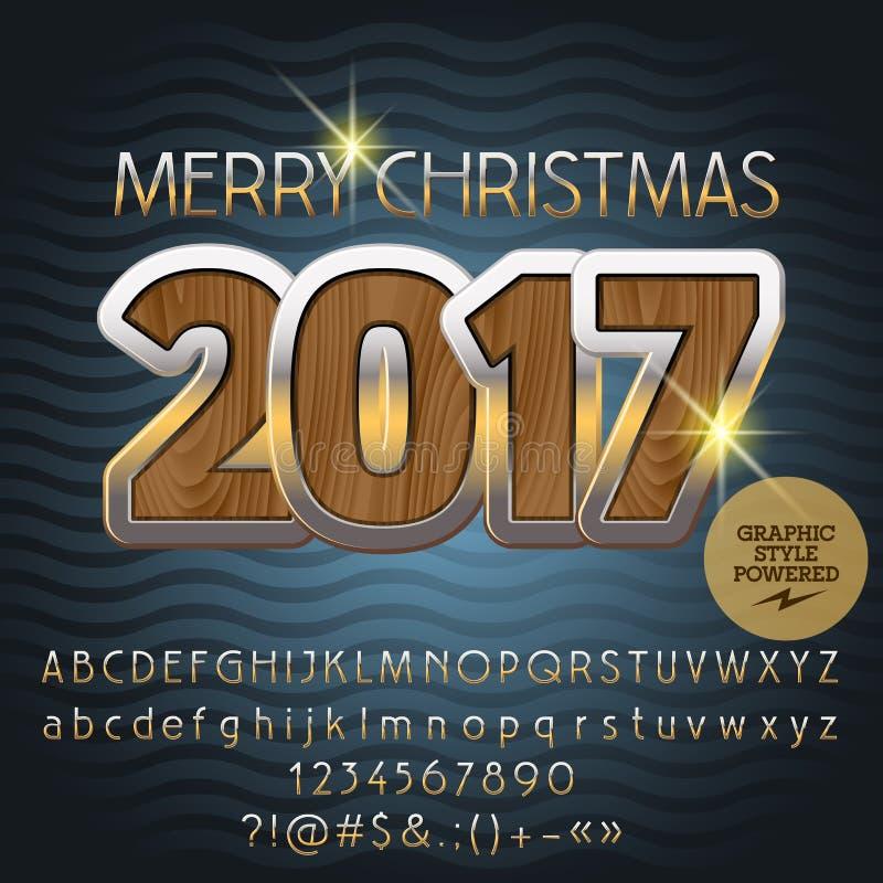 Grußkarte 2017 der Vektor-hölzerne frohen Weihnachten lizenzfreie abbildung