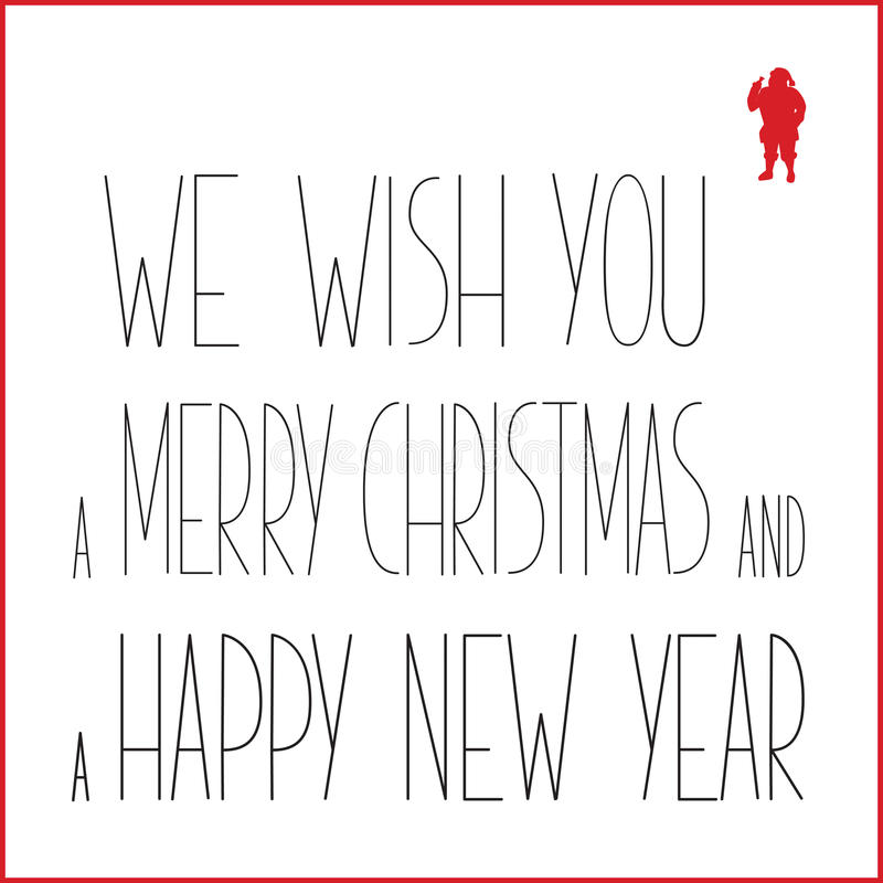 Grußkarte der weißen Weihnacht mit schwarzem Text und rotem Schattenbild von Santa Claus vektor abbildung