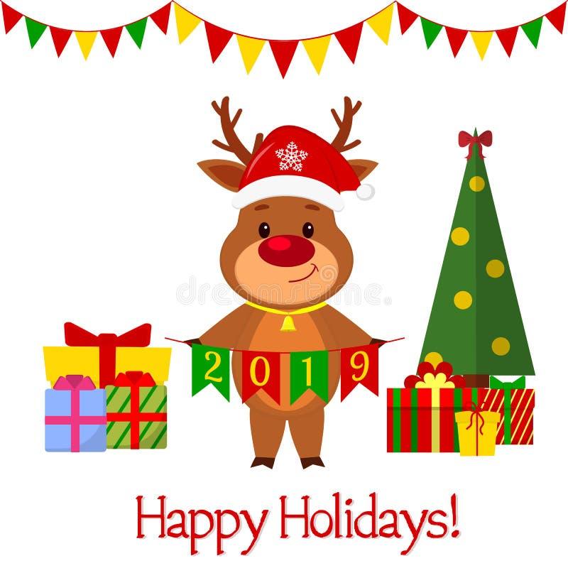 Grußkarte des guten Rutsch ins Neue Jahr und der frohen Weihnachten Ein nettes Rotwild in einem Sankt-Hut und in einer Glocke, di stock abbildung