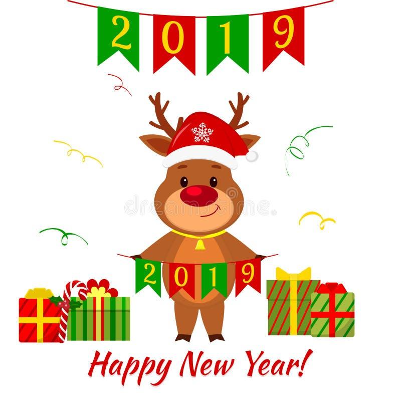 Grußkarte des guten Rutsch ins Neue Jahr und der frohen Weihnachten Ein nettes Rotwild in einem Sankt-Hut und in einer Glocke, di lizenzfreie abbildung