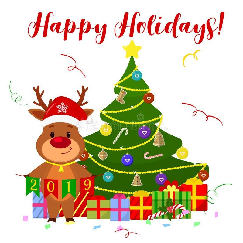 Grußkarte des guten Rutsch ins Neue Jahr und der frohen Weihnachten Ein nettes Rotwild in Glocke Sankt s und in einer Glocke um s lizenzfreie abbildung