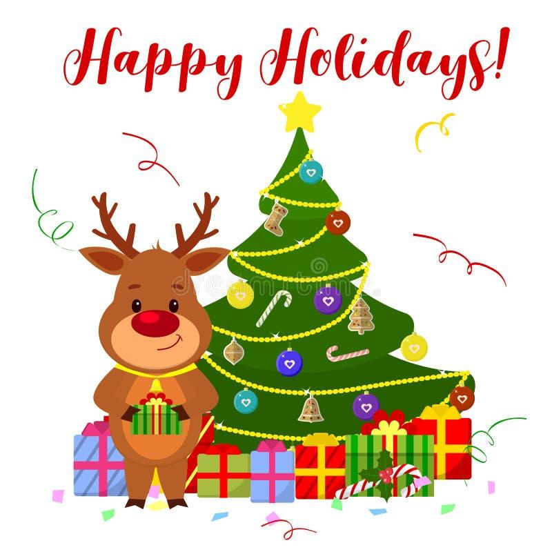 Grußkarte des guten Rutsch ins Neue Jahr und der frohen Weihnachten Ein nettes Rotwild mit einer Glocke am Hals steht nahe bei de stock abbildung