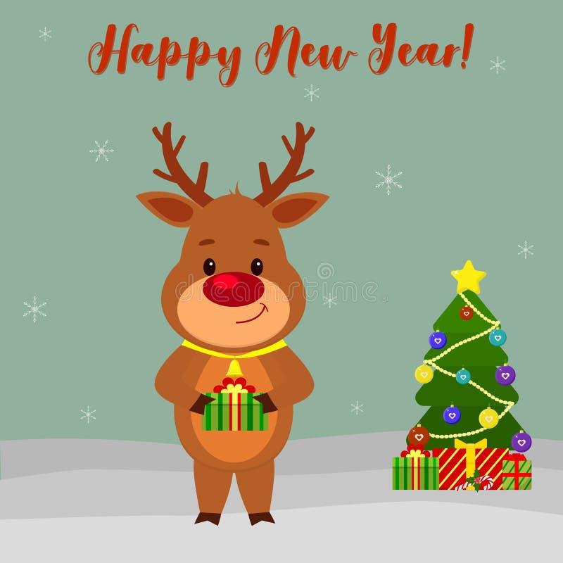 Grußkarte des guten Rutsch ins Neue Jahr und der frohen Weihnachten Nettes Rotwild mit einer Glocke um seinen Hals hält ein Gesch stock abbildung
